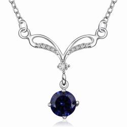 Vienna Jewelry Sterling Silver Classical Curved Mock Sapphire Necklace - Thumbnail 0