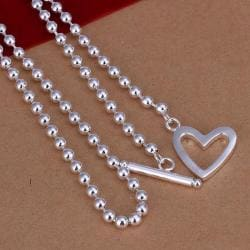 Vienna Jewelry Sterling Silver Bead Necklace Heart Closure Necklace - Thumbnail 0