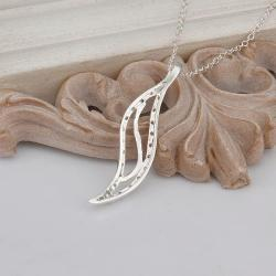 Vienna Jewelry Sterling Silver Curved Long Emblem Drop Necklace - Thumbnail 0