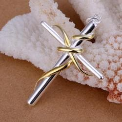 Vienna Jewelry Sterling Silver Gold Intertwined Cross Pendant - Thumbnail 0