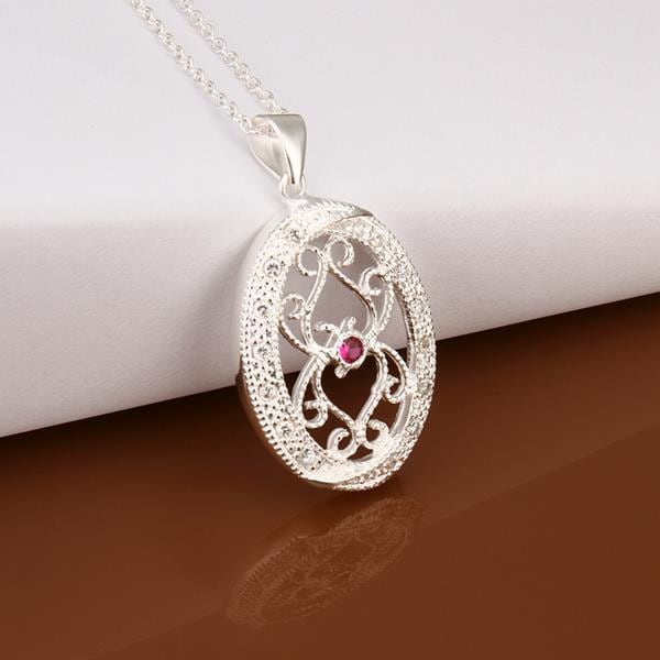 Vienna Jewelry Sterling Silver Petite Ruby Laser Cut Emblem Necklace