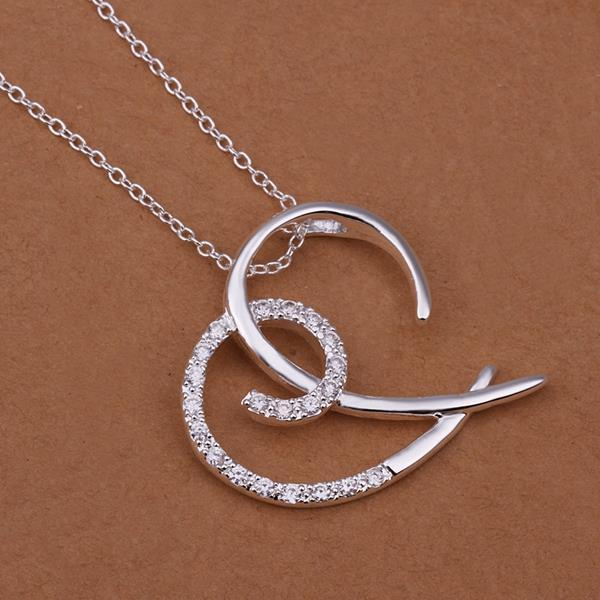 Vienna Jewelry Sterling Silver Abstract Open Heart Pendant Drop Necklace