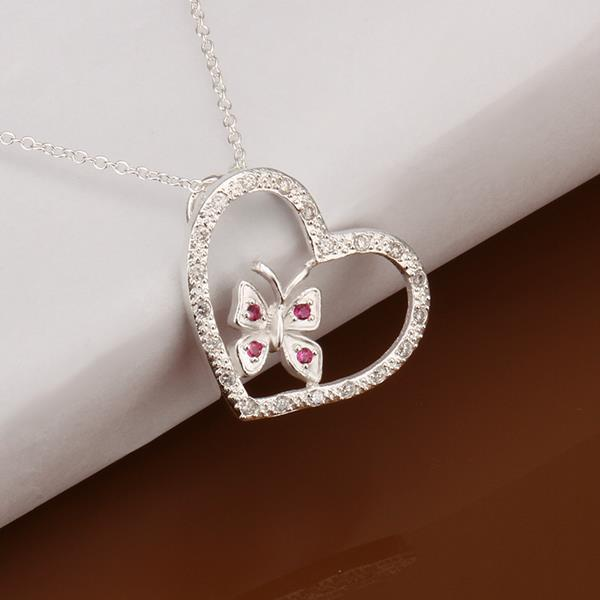 Vienna Jewelry Sterling Silver Butterfly Hollow Heart Drop Necklace