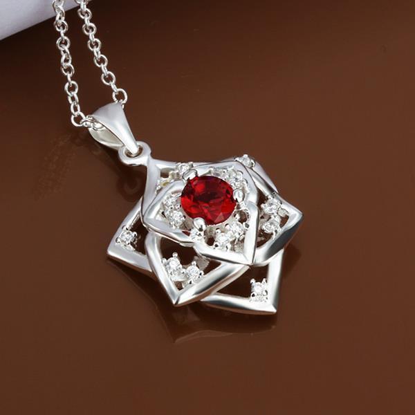 Vienna Jewelry Sterling Silver Ruby Gem Star Emblem Necklace