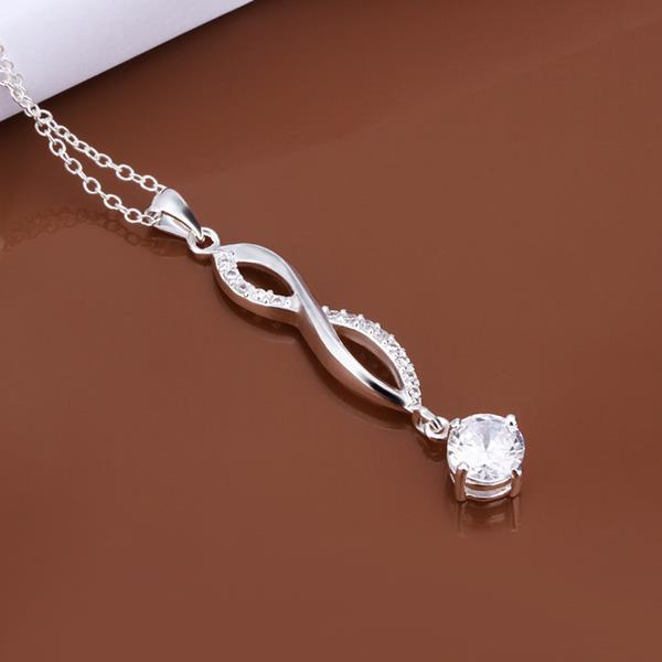 Vienna Jewelry Sterling Silver Classic Crystal Gem Dangling Necklace