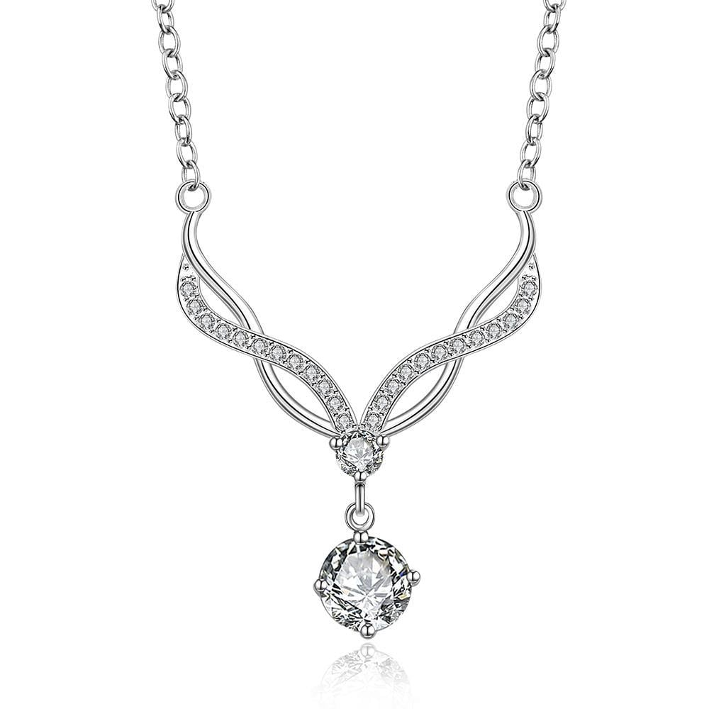 Vienna Jewelry Sterling Silver Modern Classical Crystal Curved Necklace