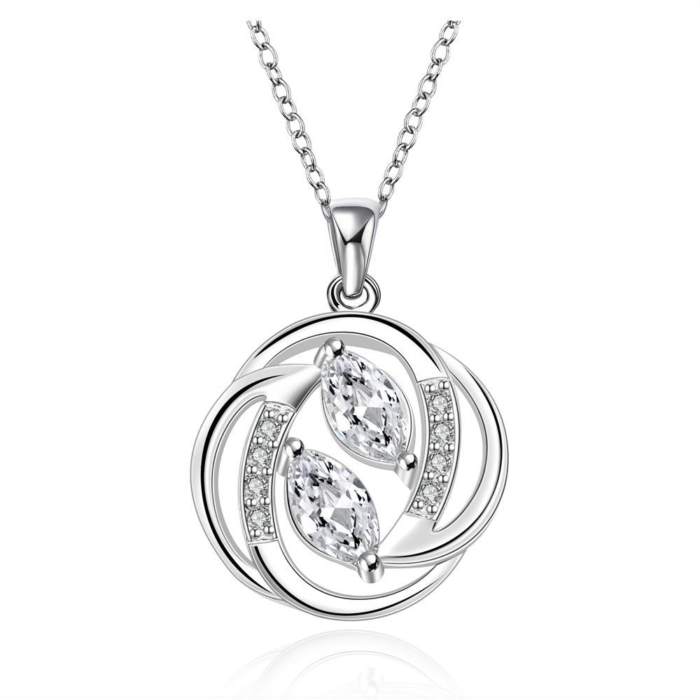 Vienna Jewelry Sterling Silver Circular Curved Emblem Drop Necklace