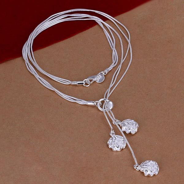 Vienna Jewelry Sterling Silver Trio-Floral Petals Dangling Necklace