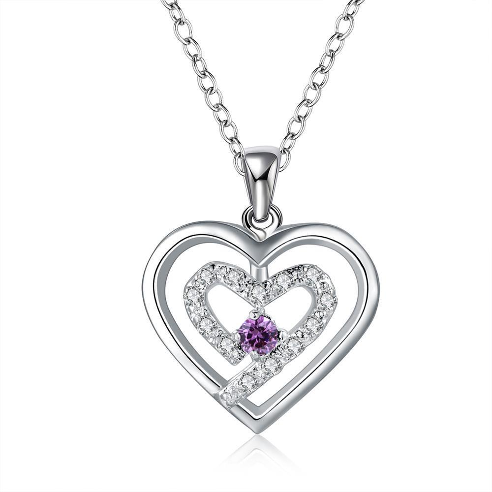 Vienna Jewelry Sterling Silver Petite Purple Citrine Curved Heart Design Necklace