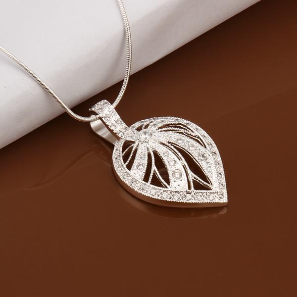 Vienna Jewelry Sterling Silver Laser Cut Leaf Emblem Drop Necklace