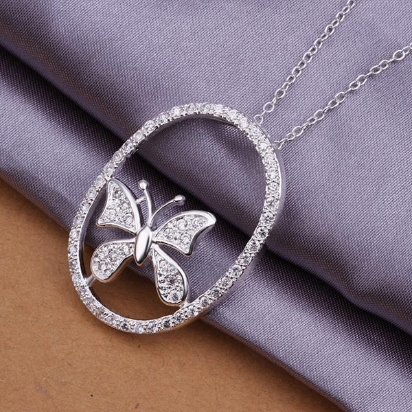 Vienna Jewelry Sterling Silver Circular Butterfly Drop Necklace