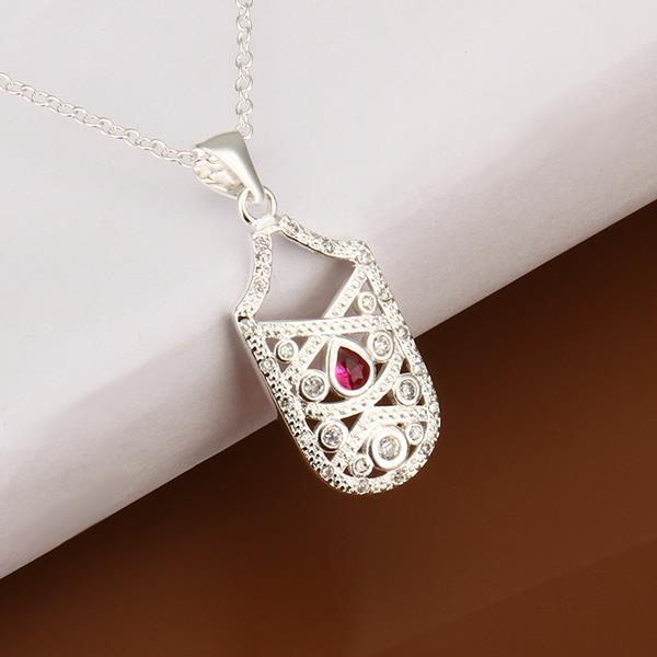 Vienna Jewelry Sterling Silver Petite Ruby Gem Laser Cut Emblem Drop Necklace