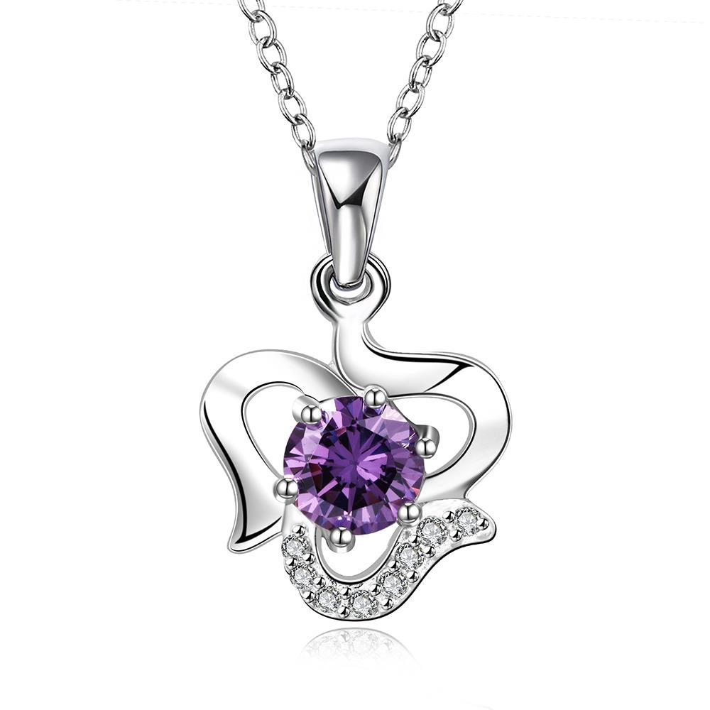 Vienna Jewelry Sterling Silver Curved Heart with Purple Citrine Gem Necklace