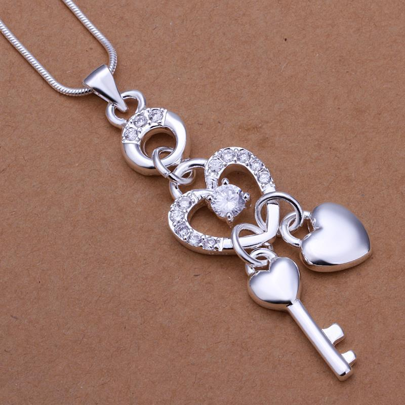 Vienna Jewelry Sterling Silver Heart & Duo Chams Pendant