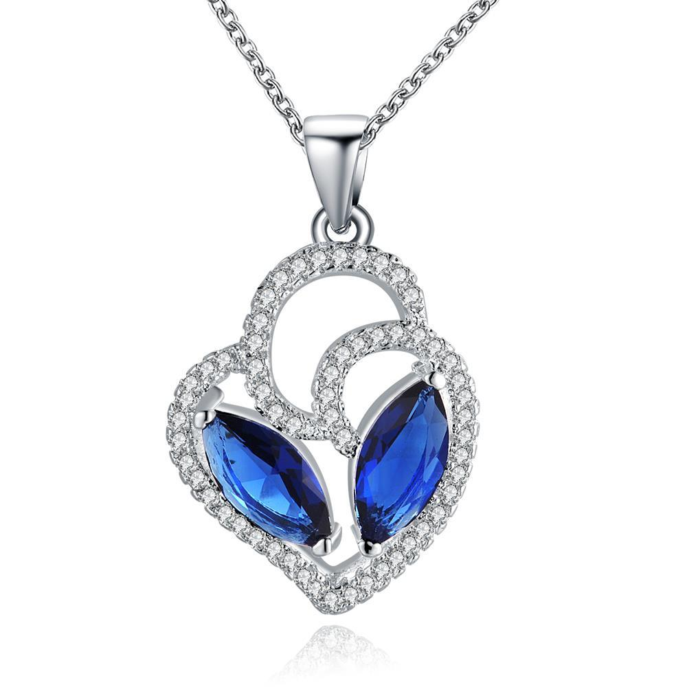 Vienna Jewelry Sterling Silver Duo Mock Sapphire Emblem Drop Necklace