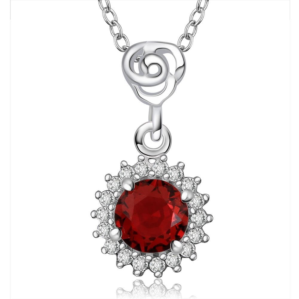 Vienna Jewelry Sterling Silver Snowflake Ruby Gem Necklace