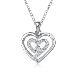 Vienna Jewelry Sterling Silver Petite Classical Crystal Curved Heart Design Necklace - Thumbnail 0