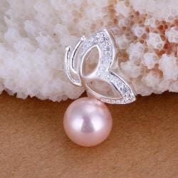 Vienna Jewelry Sterling Silver Pink Pearl Butterfly Pendant - Thumbnail 0