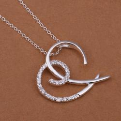 Vienna Jewelry Sterling Silver Abstract Open Heart Pendant Drop Necklace - Thumbnail 0