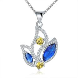 Vienna Jewelry Sterling Silver Sapphire & Emerald Dangling Floral Drop Necklace - Thumbnail 0