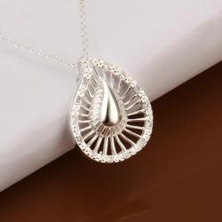 Vienna Jewelry Sivler Tone Laser Cut Swirl Emblem Necklace - Thumbnail 0