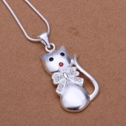 Vienna Jewelry Sterling Silver Petite Kitty Cat Pendant - Thumbnail 0