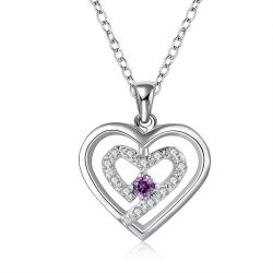 Vienna Jewelry Sterling Silver Petite Purple Citrine Curved Heart Design Necklace - Thumbnail 0