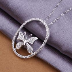 Vienna Jewelry Sterling Silver Circular Butterfly Drop Necklace - Thumbnail 0