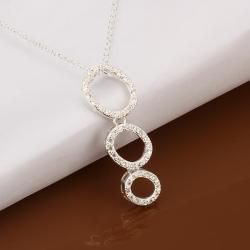 Vienna Jewelry Sterling Silver Trio-Circles Drop Necklace - Thumbnail 0