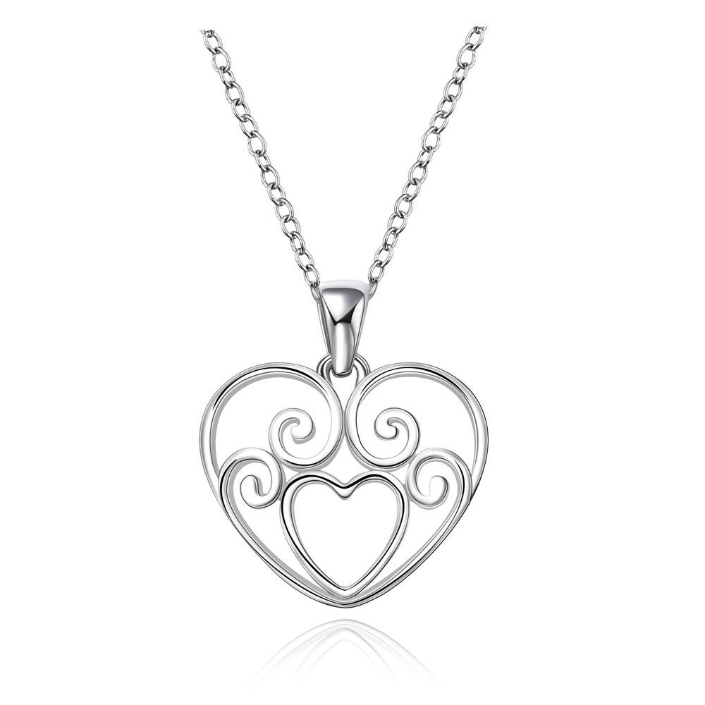 Vienna Jewelry Sterling Silver Laser Cut Heart Design Drop Necklace