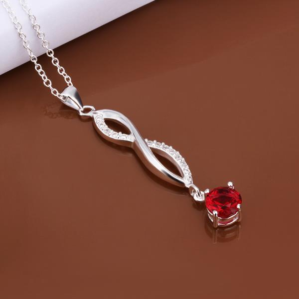 Vienna Jewelry Sterling Silver Ruby Red Gem Dangling Necklace