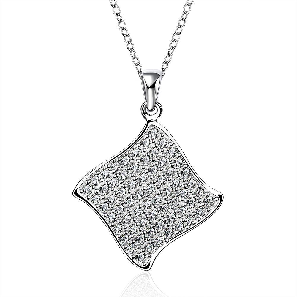 Vienna Jewelry Sterling Silver Crystal Rhombus Shaped Drop Necklace