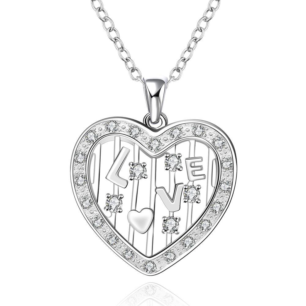 Vienna Jewelry Sterling Silver Laser Cut Heart Shaped Necklace