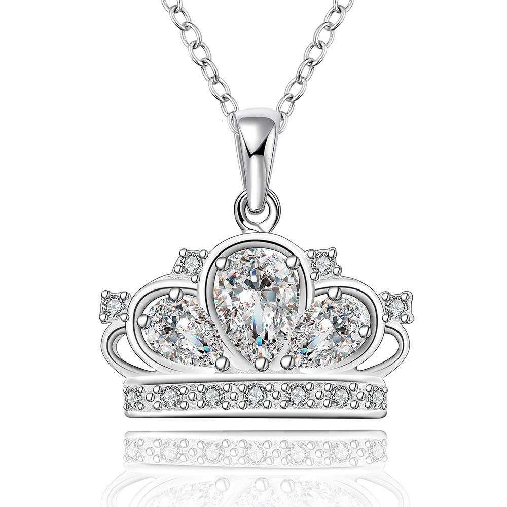 Vienna Jewelry Sterling Silver Jewels Covering King's Crown Pendant Necklace