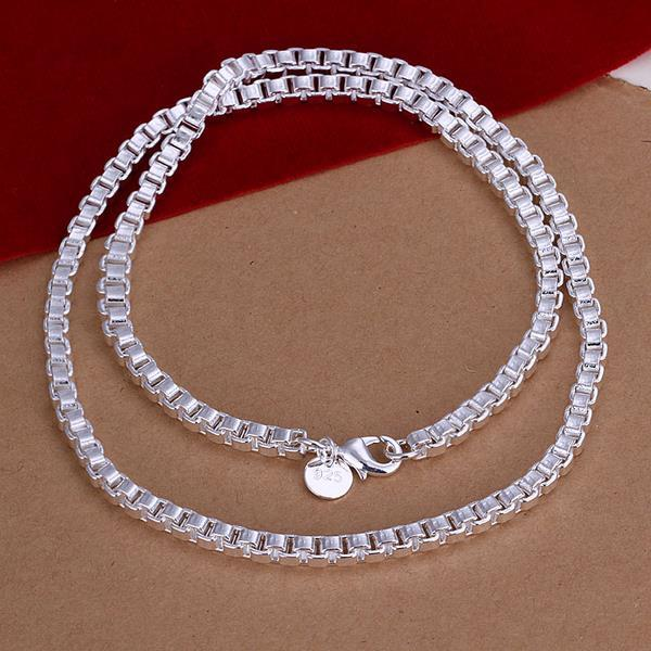 Vienna Jewelry Sterling Silver Connected Cubed Chain Necklace