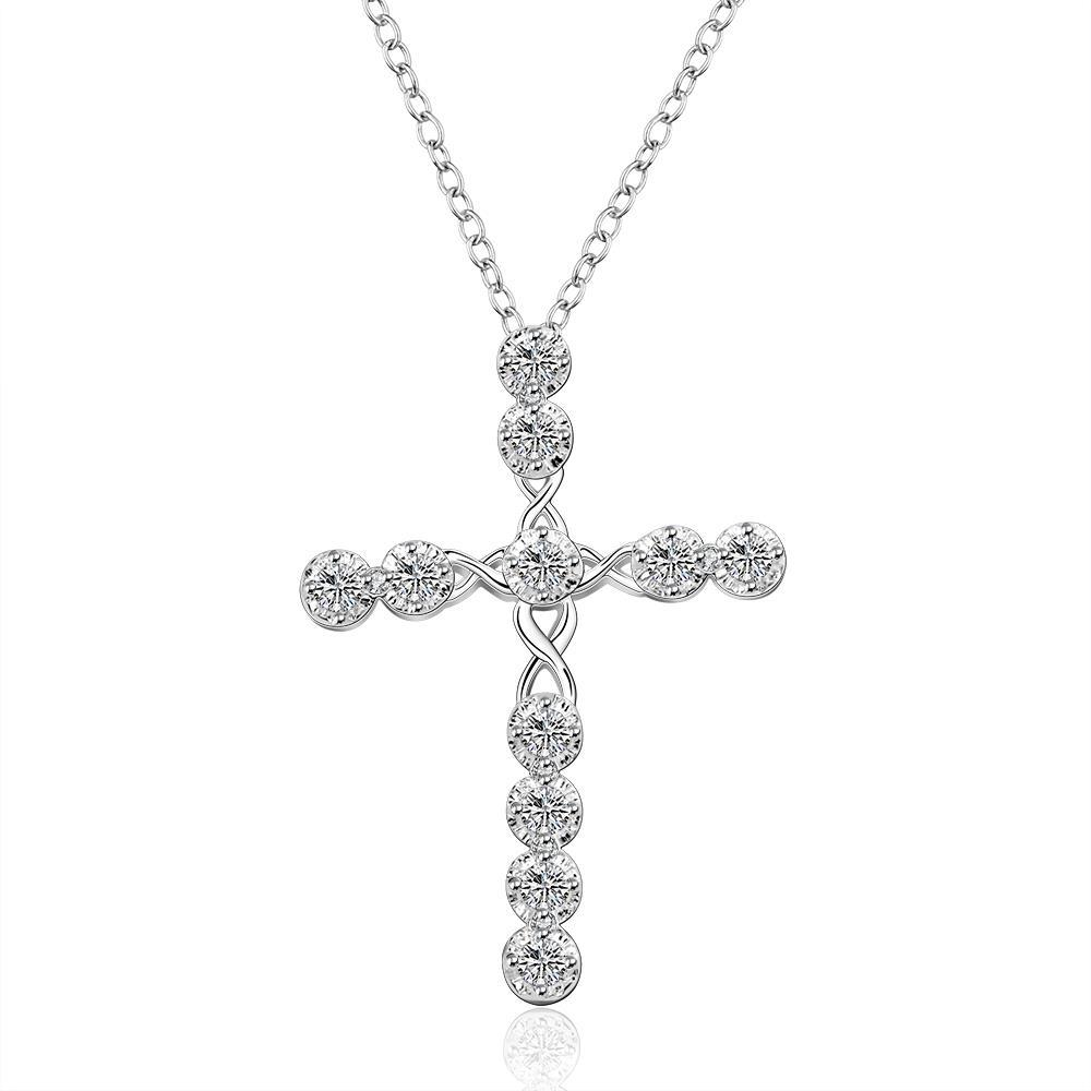 Vienna Jewelry Sterling Silver Modern Cross Design Drop Necklace