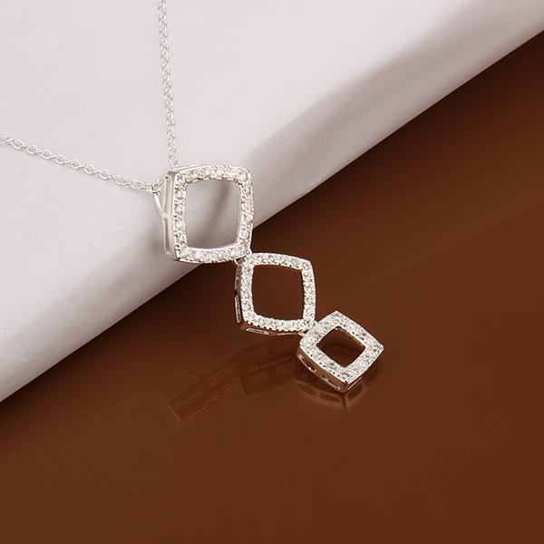 Vienna Jewelry Sterling Silver Trio-Square Shaped Dangling Drop Necklace