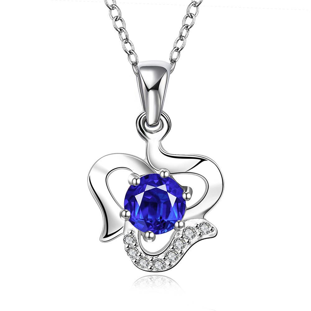 Vienna Jewelry Sterling Silver Curved Heart with Sapphie Gem Necklace