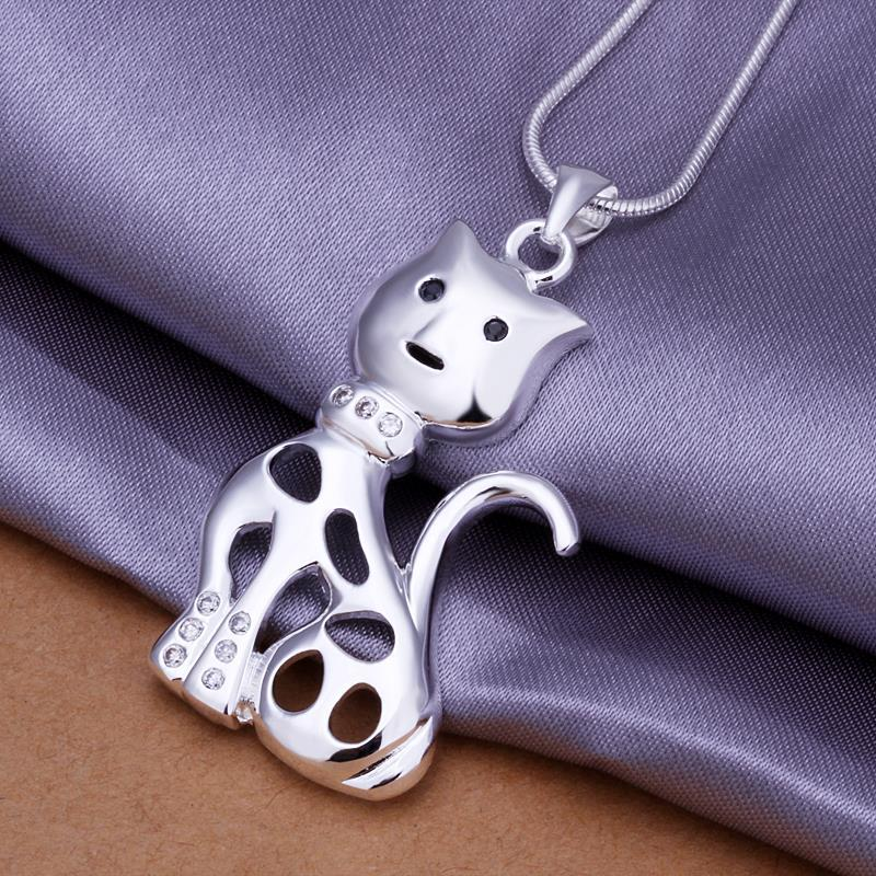 Vienna Jewelry Sterling Silver Laser Cut Kitty Car Pendant