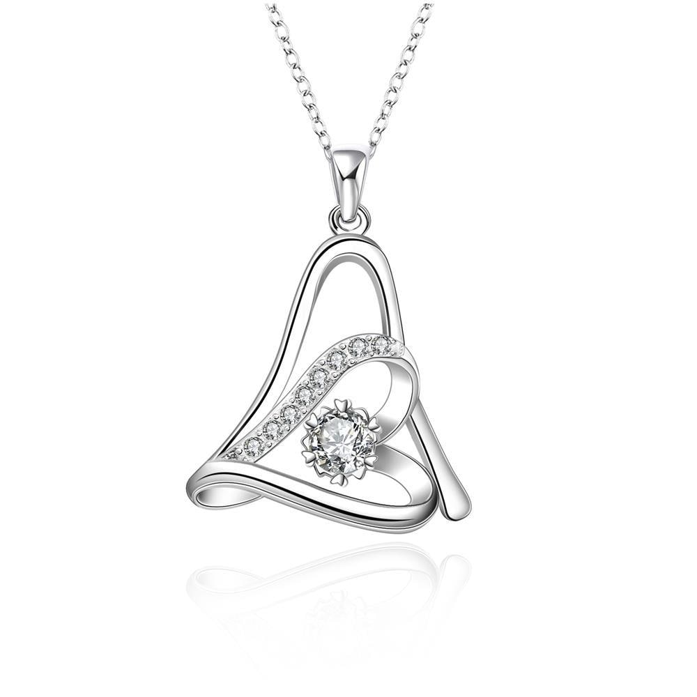 Vienna Jewelry Sterling Silver Duo Curved Heart Drop Necklace