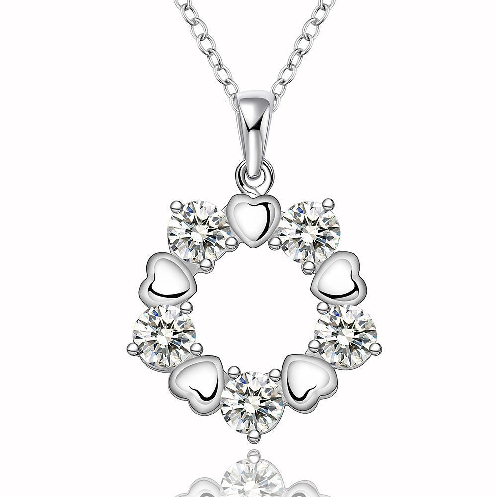 Vienna Jewelry Sterling Silver Floral Petal Surronding Circular Emblem Necklace