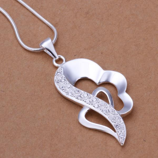 Vienna Jewelry Sterling Silver Curved Heart Shaped Drop Necklace