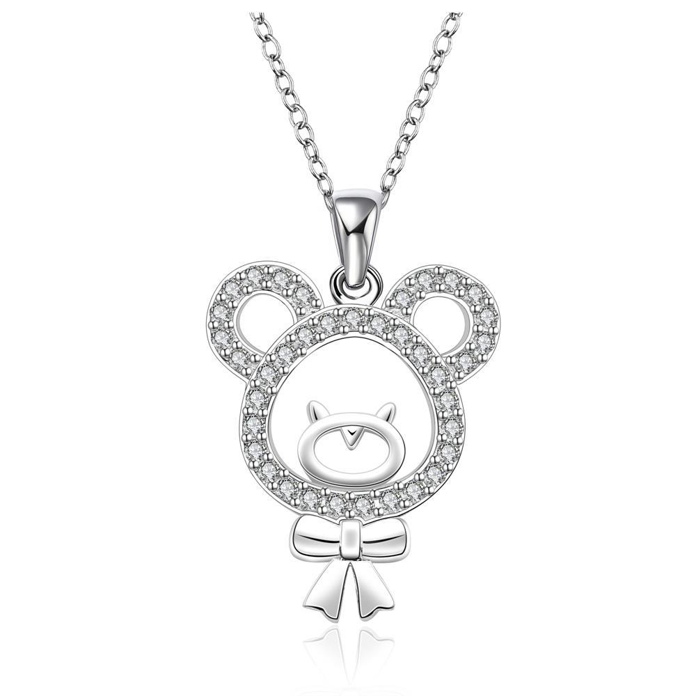 Vienna Jewelry Sterling Silver Hollow Teddy Bear with Jewels Covering Drop Necklace