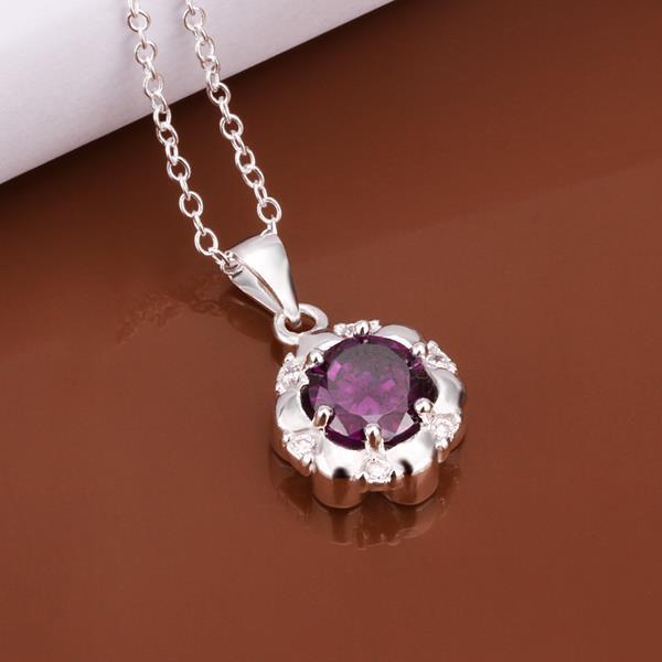 Vienna Jewelry Sterling Silver Purple Citrine Gem Emblem Necklace - Thumbnail 0