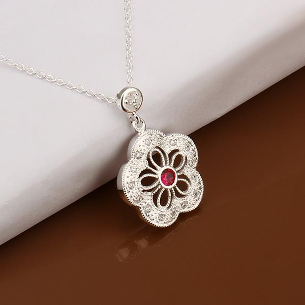 Vienna Jewelry Sterling Silver Petite Ruby Gem Laser Cut Clover Necklace