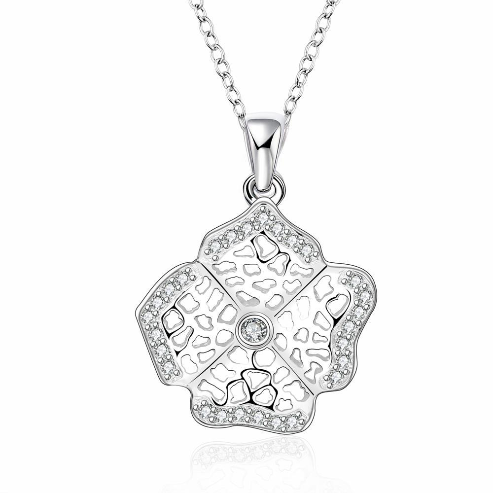 Vienna Jewelry Sterling Silver Laser Cut Clover Pendant Drop Necklace