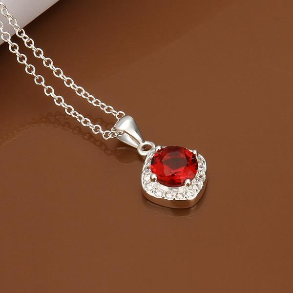 Vienna Jewelry Sterling Silver Petite Ruby Gem Emblem Necklace
