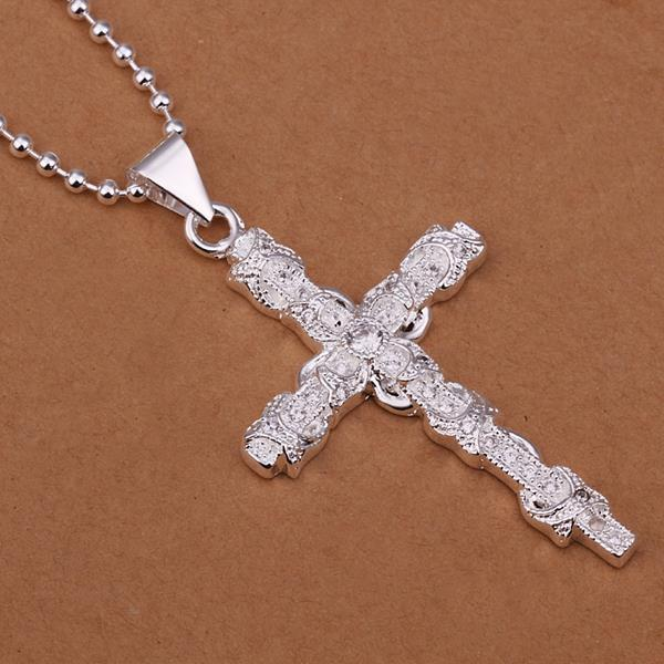 Vienna Jewelry Sterling Silver Cross Wiring Drop Necklace