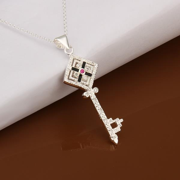 Vienna Jewelry Sterling Silver Laser Cut Rectangle Emblem Drop Necklace