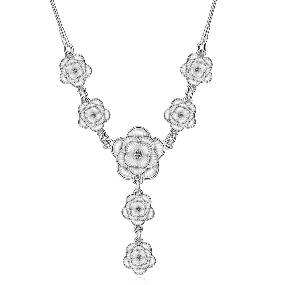 Vienna Jewelry Sterling Silver Multi-Floral Petal Dangling Necklace